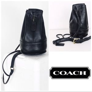 Coach Rare Vintage Black Leather Bixby Sling Bag